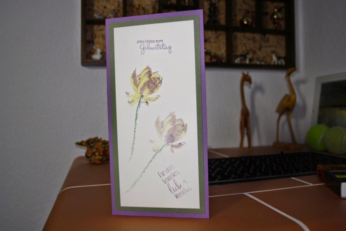 selbstgestaltete Geburtstagskarte mit Einleger für die persönlichen Glückwünsche