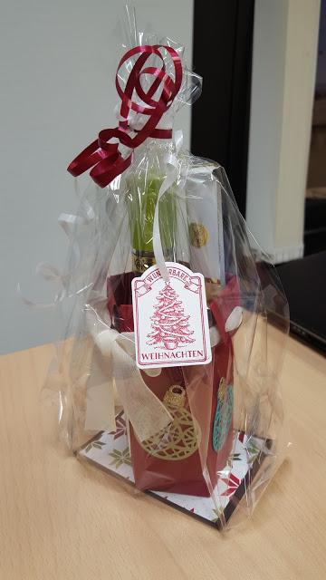 Flaschenverpackung für eine liebe Arbeitskollegin als kleines Danke-Schön